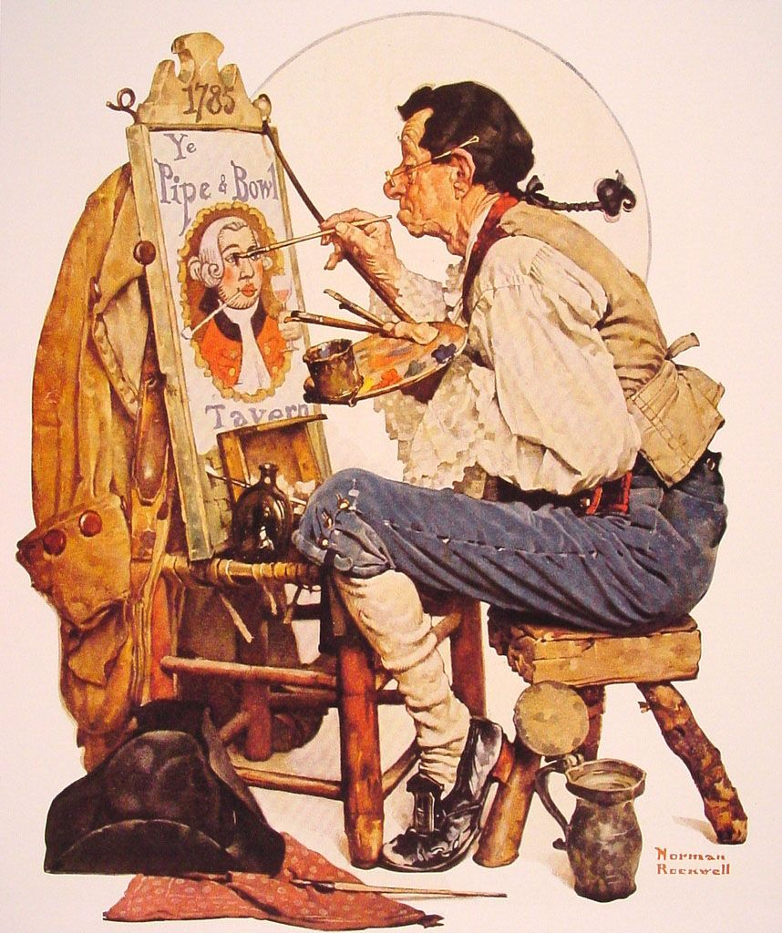 norman rockwell paintings | Pipe and Bowl sign Painter - Norman Rockwell - WikiPaintings.org