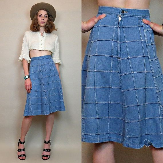 Vintage 70s patchwork denim skirt / hippie skirt / boho | Denim skirt Vintage 70s and Patchwork