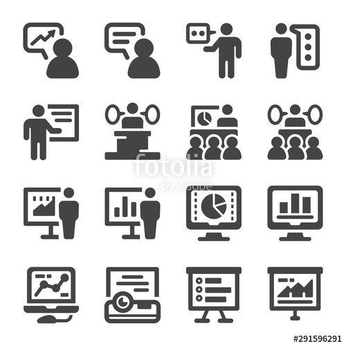 presentation and presenter icon setvector and illustration