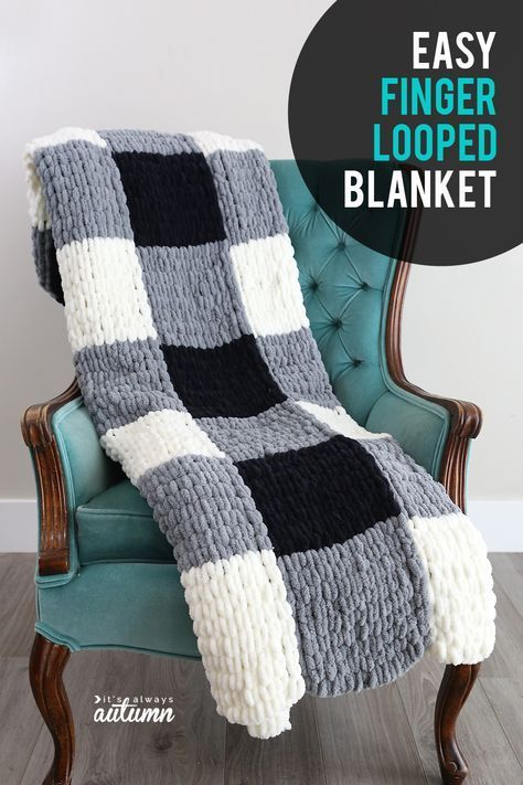 Photo of Make a gorgeous finger knit blanket with loop yarn {this is so easy!} – It's Always Autumn