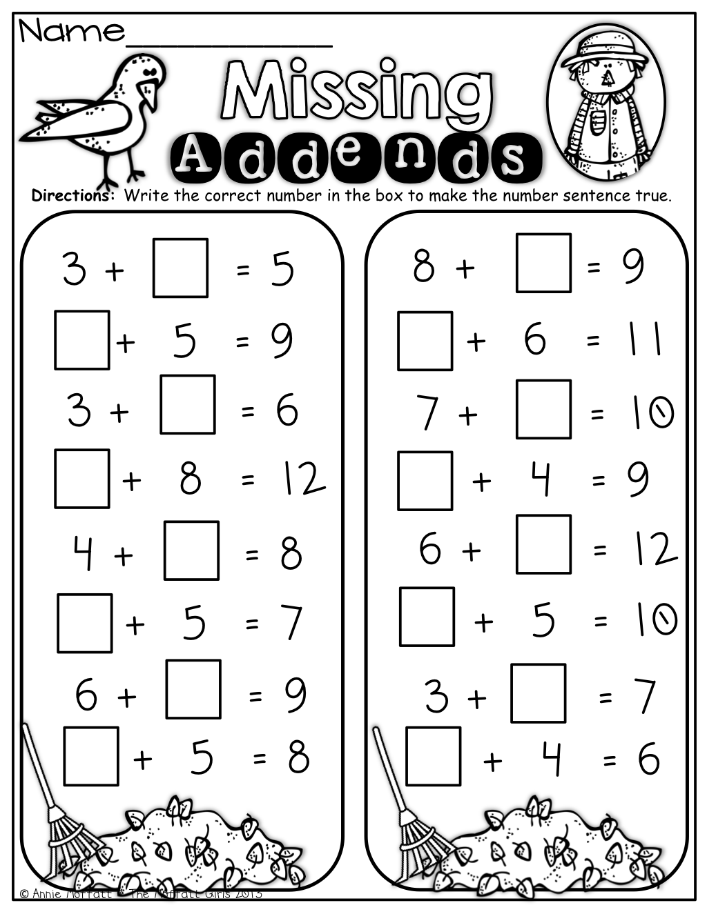 Missing Addends Fall Math First Grade Math 1st Grade Math Worksheets