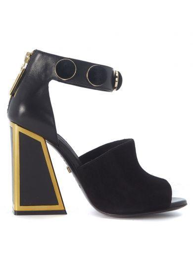 KAT MACONIE Sandalo Tacco Kat Maconie Sadie In Camoscio Nero. #katmaconie #shoes #sandals