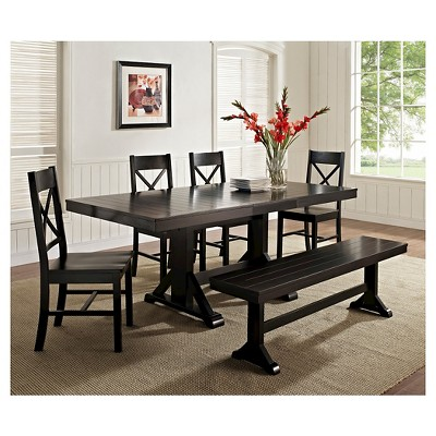 Antique Black Wood Kitchen Dining Table Saracina Home In 2021 Black Dining Room Solid Wood Dining Set Black Dining Table Set