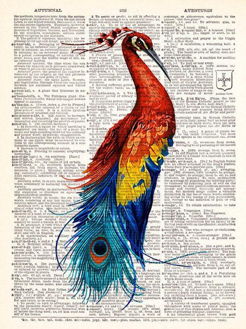Boho Art ~ Vintage Dictionary peacock Print Vintage Book Print