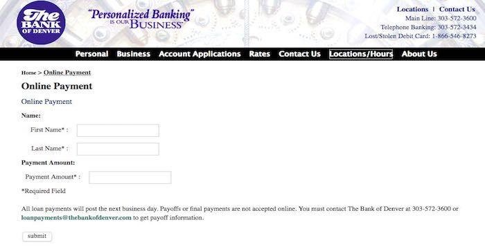 Bank of Denver Bill Pay Online, Login, Customer Service