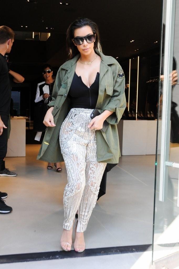 Kim Kardashian wearing Yeezy Season 2 Lucite Heel Sandals