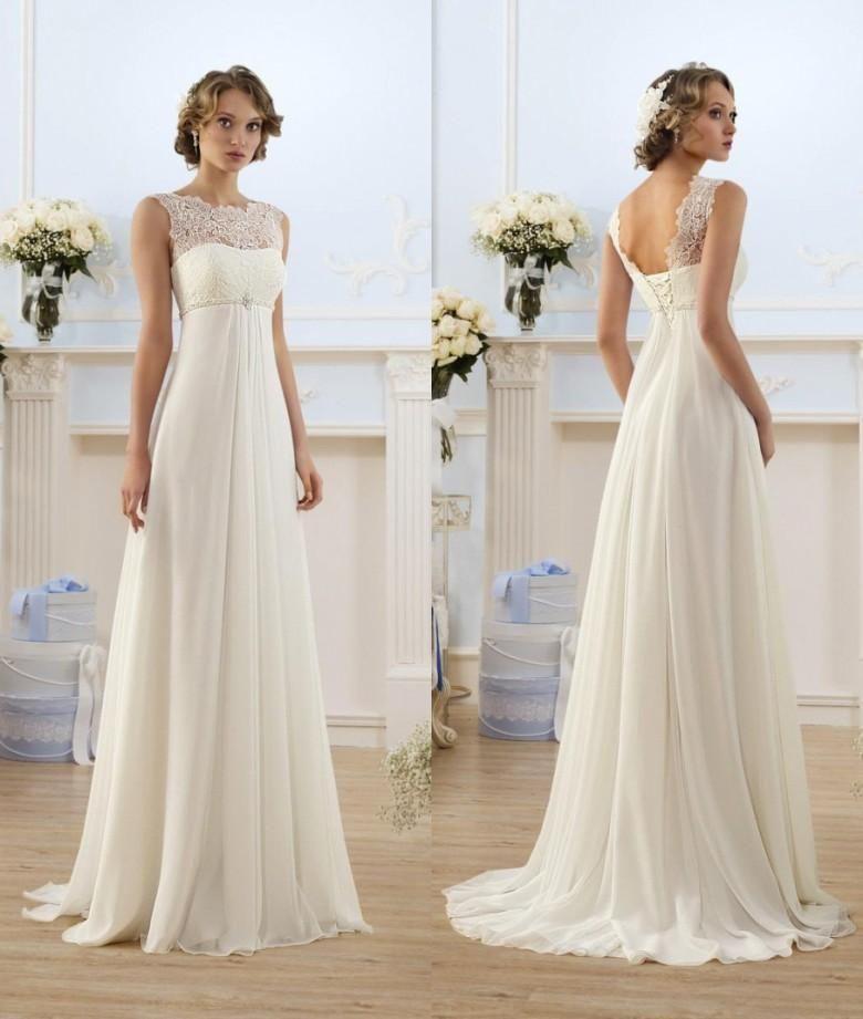 Lace Chiffon Empire Wedding Dresses 2016 Sheer Neck Capped Sleeve A Line  Long Chiffon Wedding Dresses Summer Beach Bridal Gowns Hot Selling 4863f98b0561