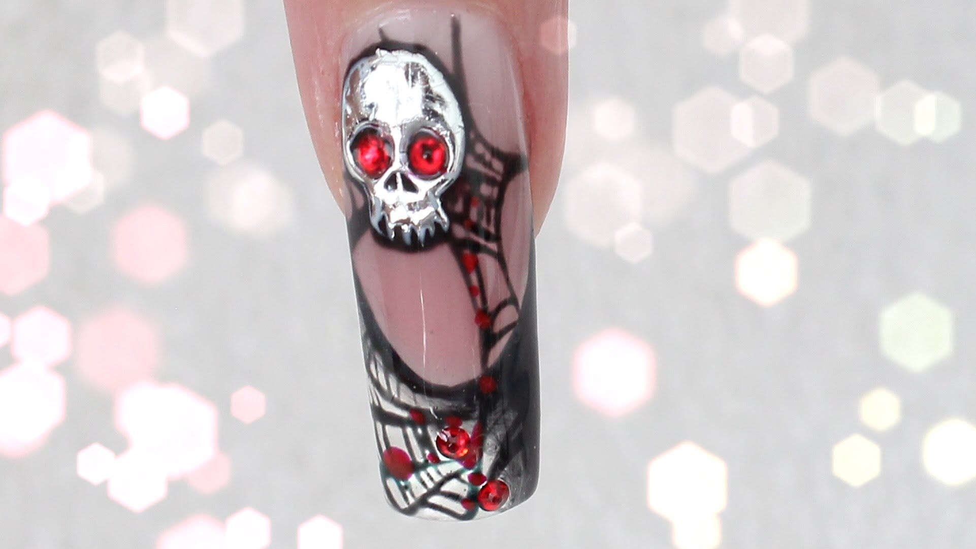 Halloween Nails 3d Platinum Skull Spider Web Design Tutorial By