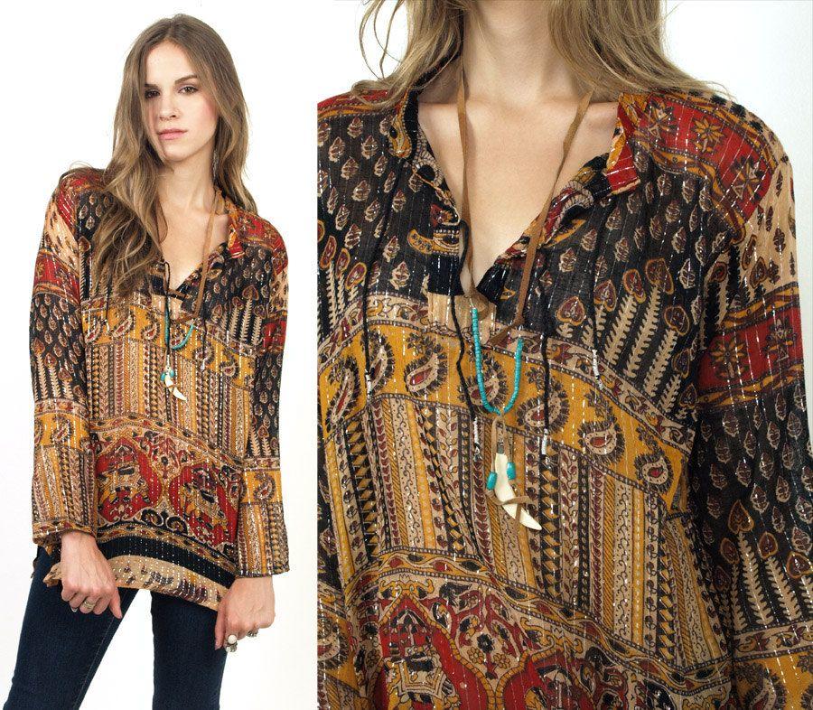 Vintage Indian crop top choli blouse turquoise dupioni shantung silk style gold trim boHo bohemian hippie festival