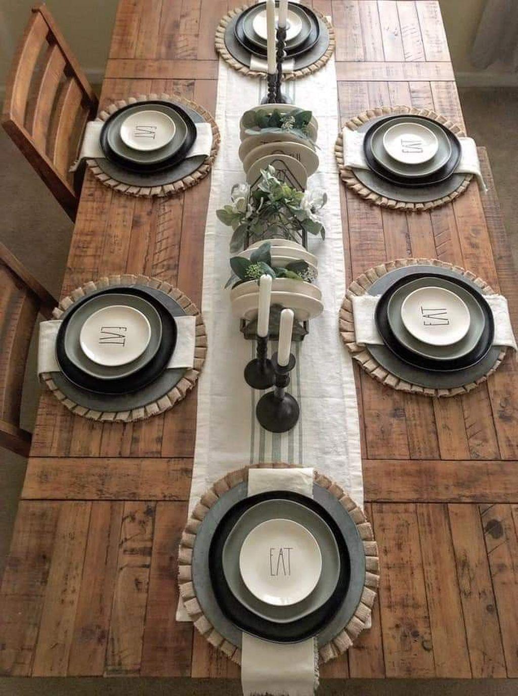 36 Adorable Fall Farmhouse Dining Room Decor Ideas#adorable #decor #dining #fall #farmhouse #ideas #room