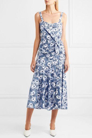 92b10b742 Veronica Beard - Marena Gathered Printed Cotton-poplin Midi Dress - Blue