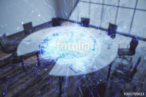 Double exposure of brain drawing hologram on conference room background Concept of data analysis