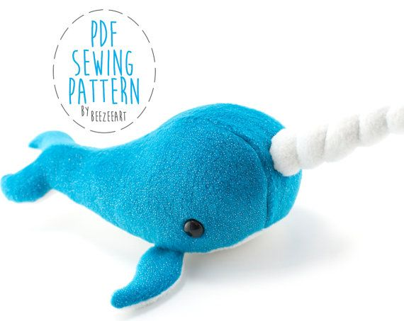 Narwhal Stuffed Animal Sewing Pattern, Whale Pattern, Plush Toy ...