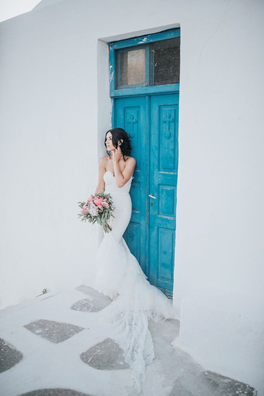 A Must-See Gown + Peony Bouquet for a Greece-Set Wedding | Inbal ...