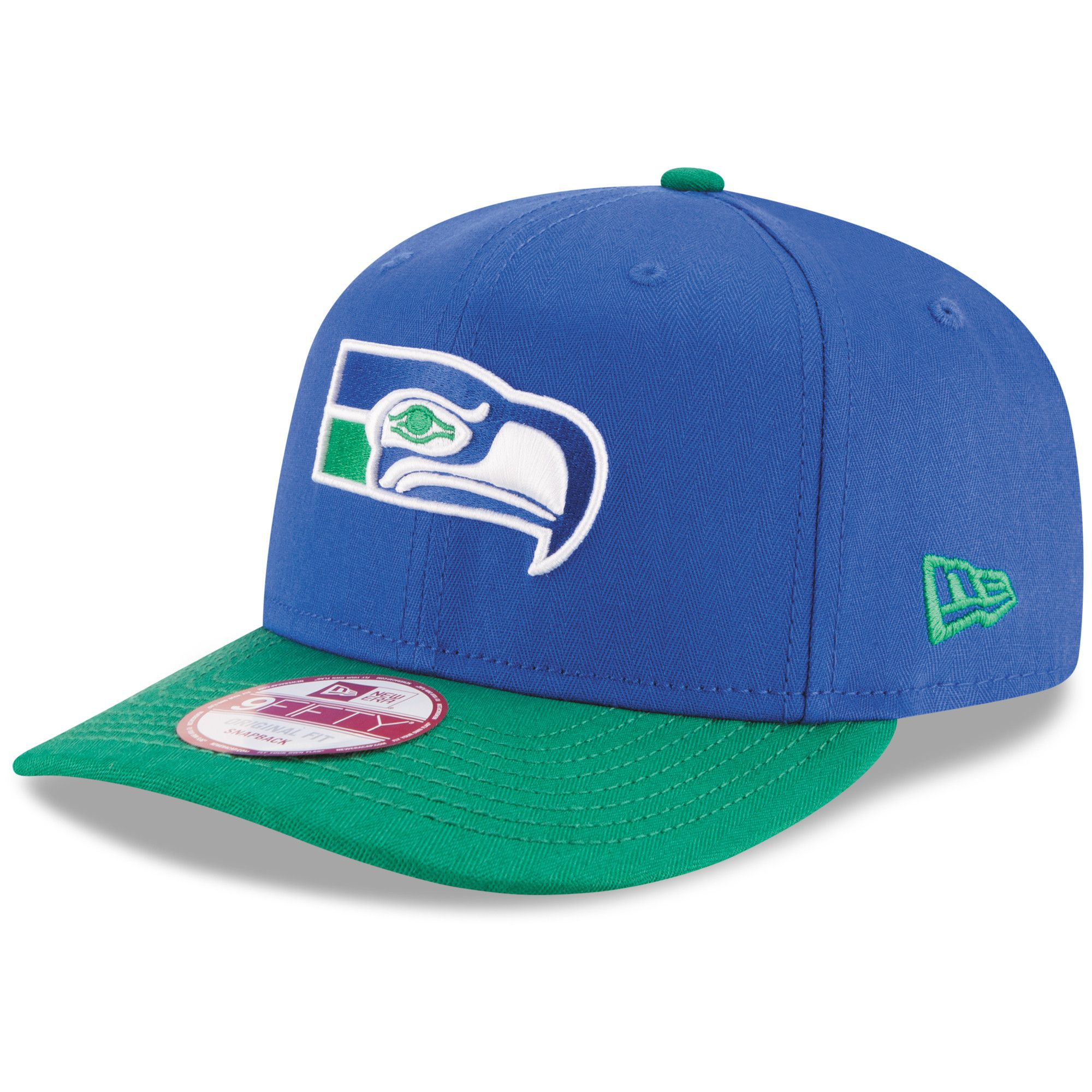 the latest c5870 812b0 Men s Seattle Seahawks New Era Royal Green Historic Detailed Vize Original  Fit 9FIFTY Snapback Adjustable