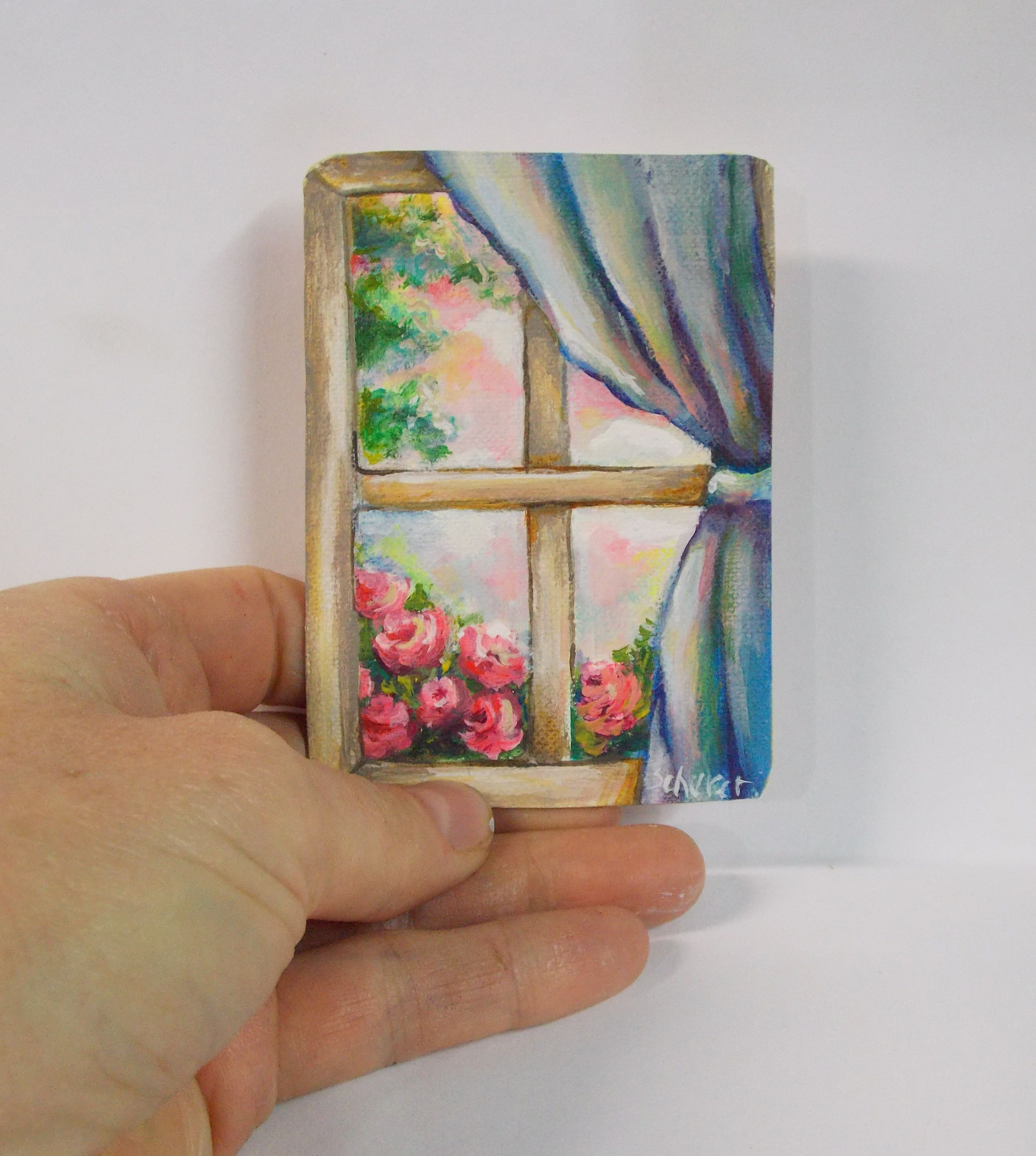 Window painting roses art art pinterest painted roses for Things to do with mini canvases