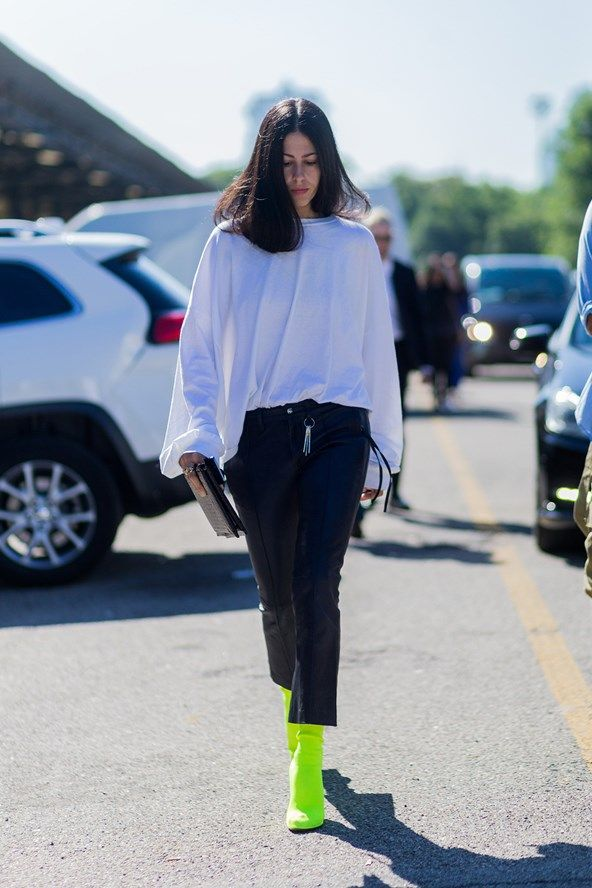Bright white jeans, the statement single earring and sunset hues ruled Paris street style trends