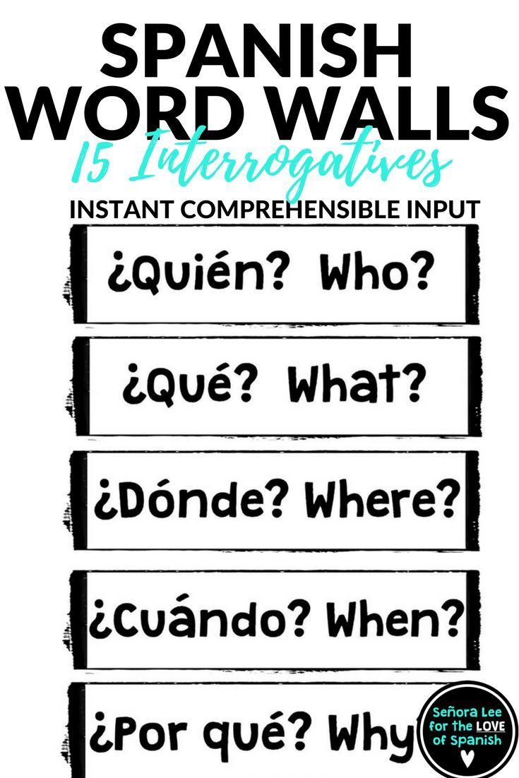 Spanish Word Wall Spanish Interrogatives Question Words Spanish Word Wall Spanish Vocabulary And Spanish Words