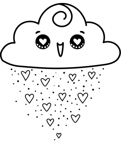 Kawaii Cloud Coloring Page Kawaii Drawings Unicorn Coloring Pages Cute Coloring Pages