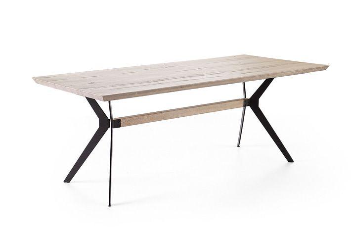 Wohnzimmertisch Metall ~ Moderner tisch metall tischbeine und eiche massiv tischplatte
