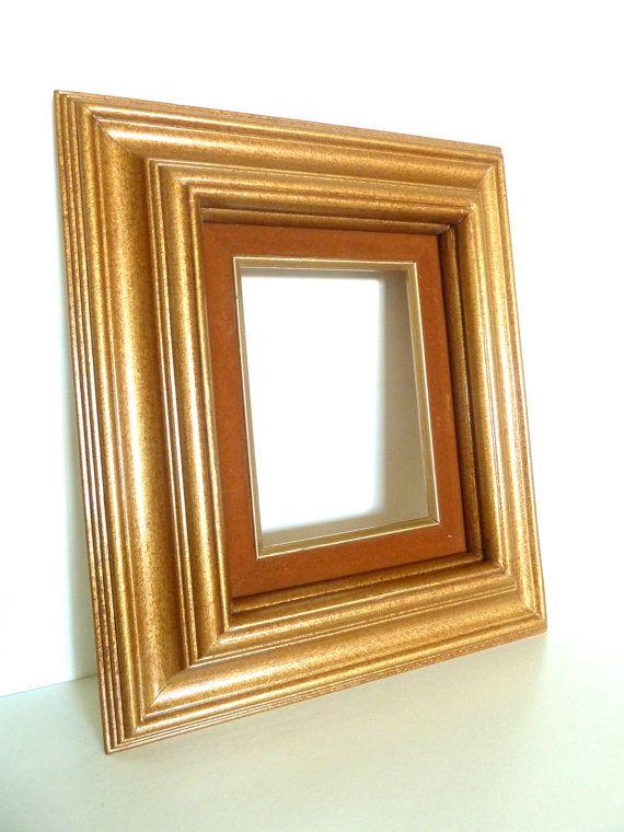 Backless Ornate Browngold Wood Frame With Velvet Mat Vintage
