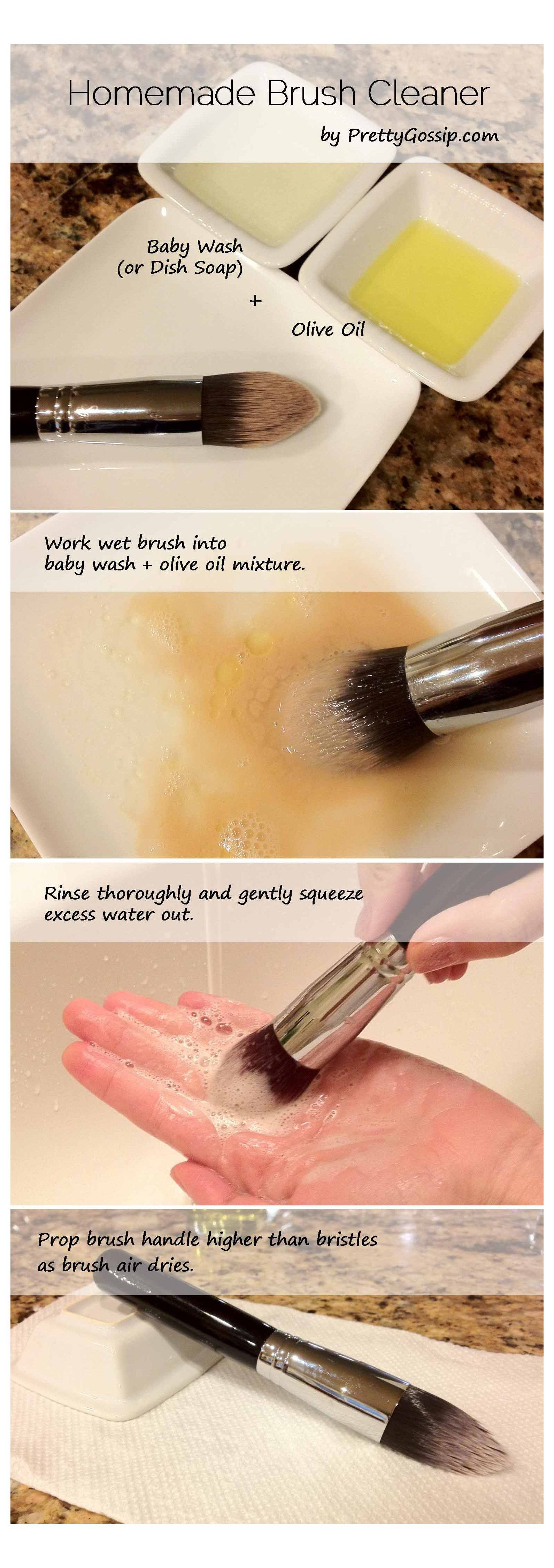 Swirl your makeup brushes in a DIY mixture of dish soap