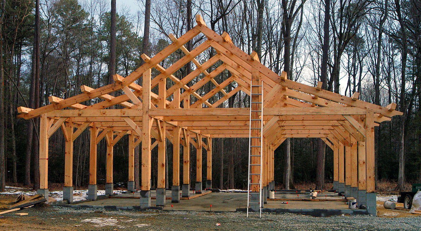 Timber frame barn using white pine timbers construction for Timber frame house construction