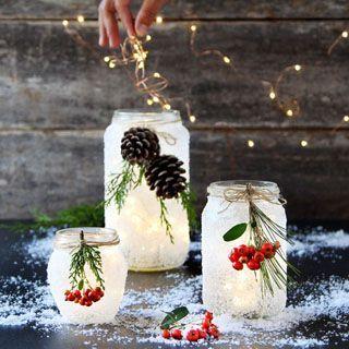 5 Minuten DIY schneegefrostete Einmachglasdekorationen {Magical!} – Upcycling Blog