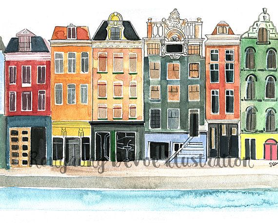 Landschaft Illustration Amsterdam Aquarell Poster