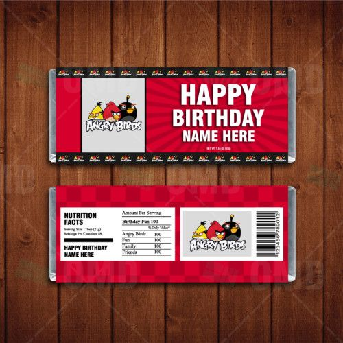 Angry Birds Custom Candy Bar Wrappers Cartoon Invites Pinterest