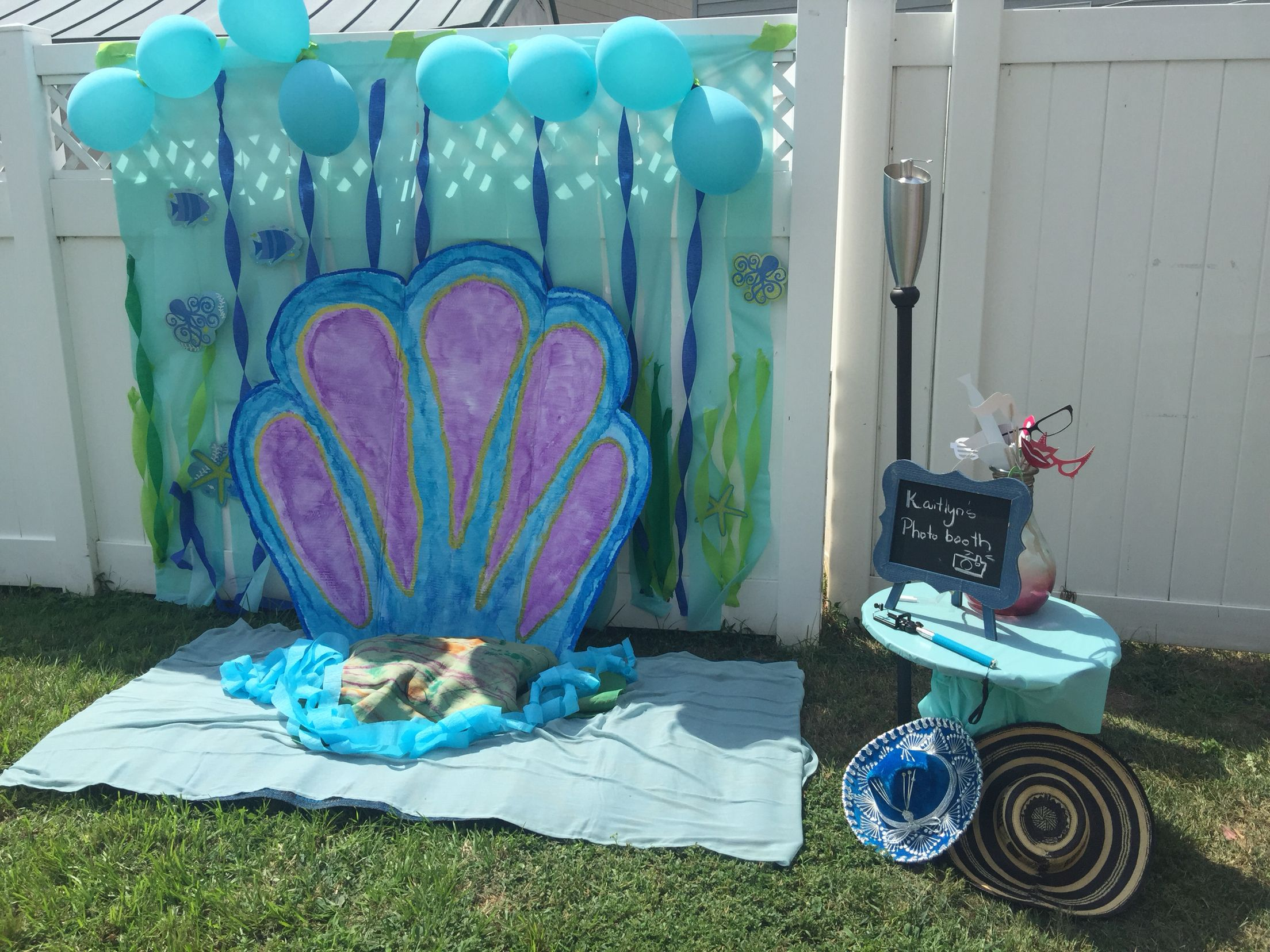 Photo booth background under the sea theme cute idea for for Party decorations to make at home