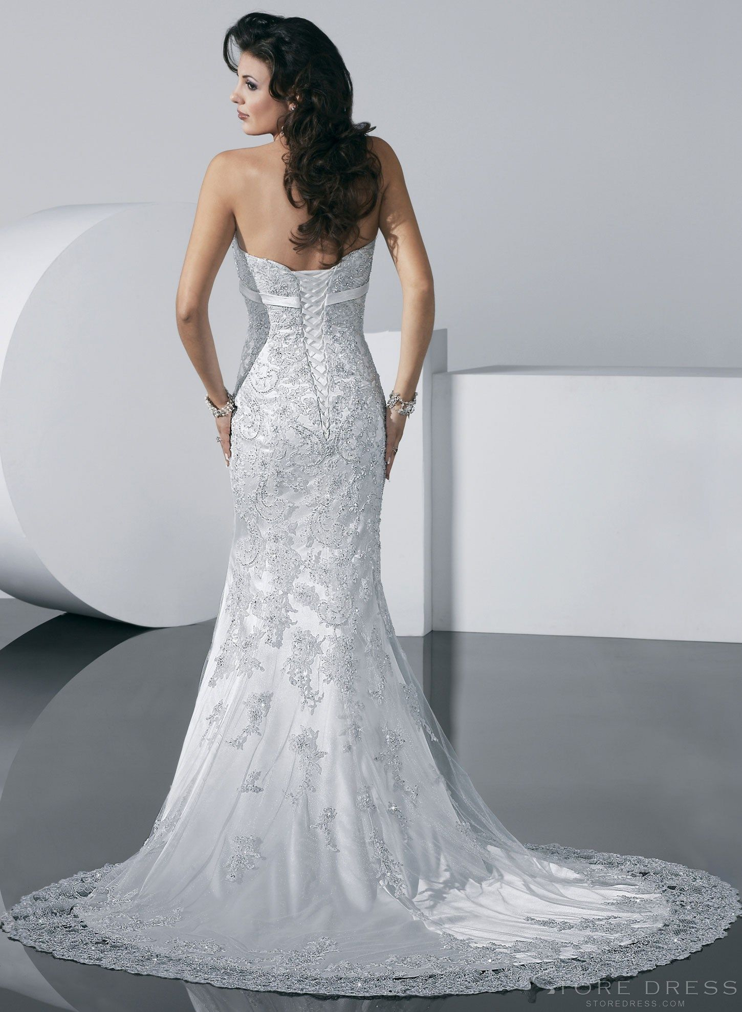 Luxurious Trumpet / Mermaid Court Train Lace-up Wedding Dress ...