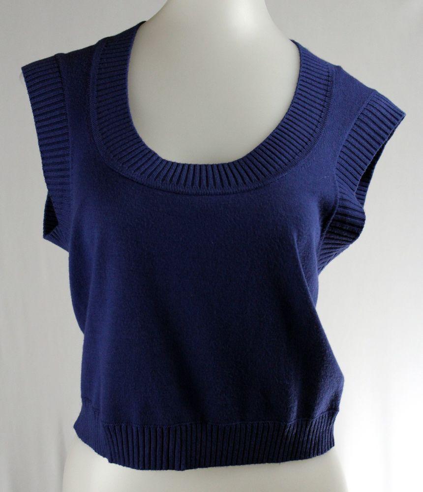 EXPRESS Blue Sleeveless Scoop Neck Sleeveless Sweater Vest ...