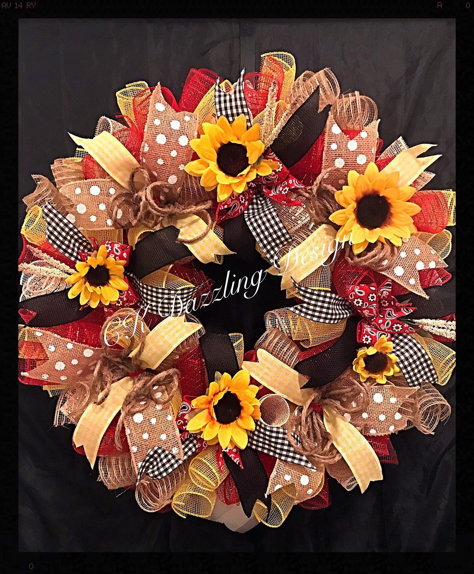 Photo of Summer Sunflower Deco Mesh Wreath / Sunflower Wreath / Summer Wreath / Spring Wreath