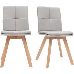 2er-Set Stühle skandinavisch Naturfarben Stoff mit hellen Holzbeinen Thea Miliboo