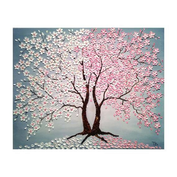 Cherry Blossom Trees Dia Y Noche Pintura De Impasto De Aceite Etsy In 2020 Blossom Trees Cherry Blossom Painting Tree Painting