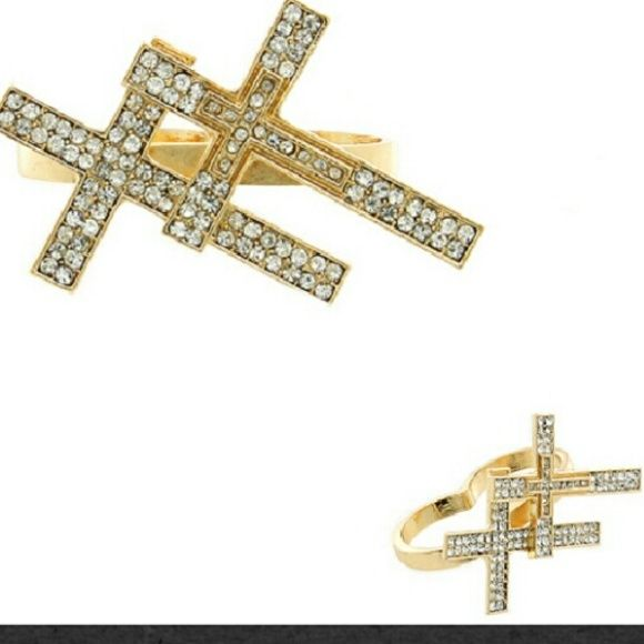 GOLD DBL CROSS RING 2 finger double cross ring with rhinestones Jewelry Rings