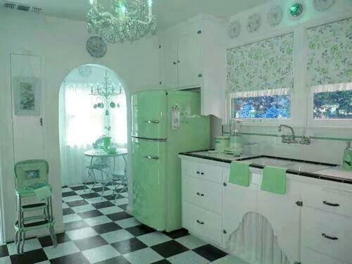 What a cool kitchen..I would love this frig