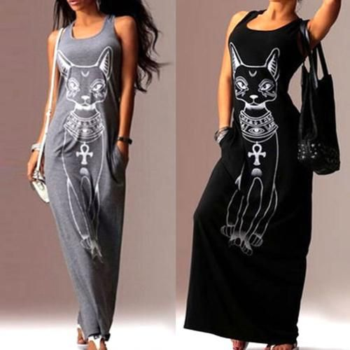 Women Summer Casual Sleeveless Cat Long Cocktail Evening Party Dress
