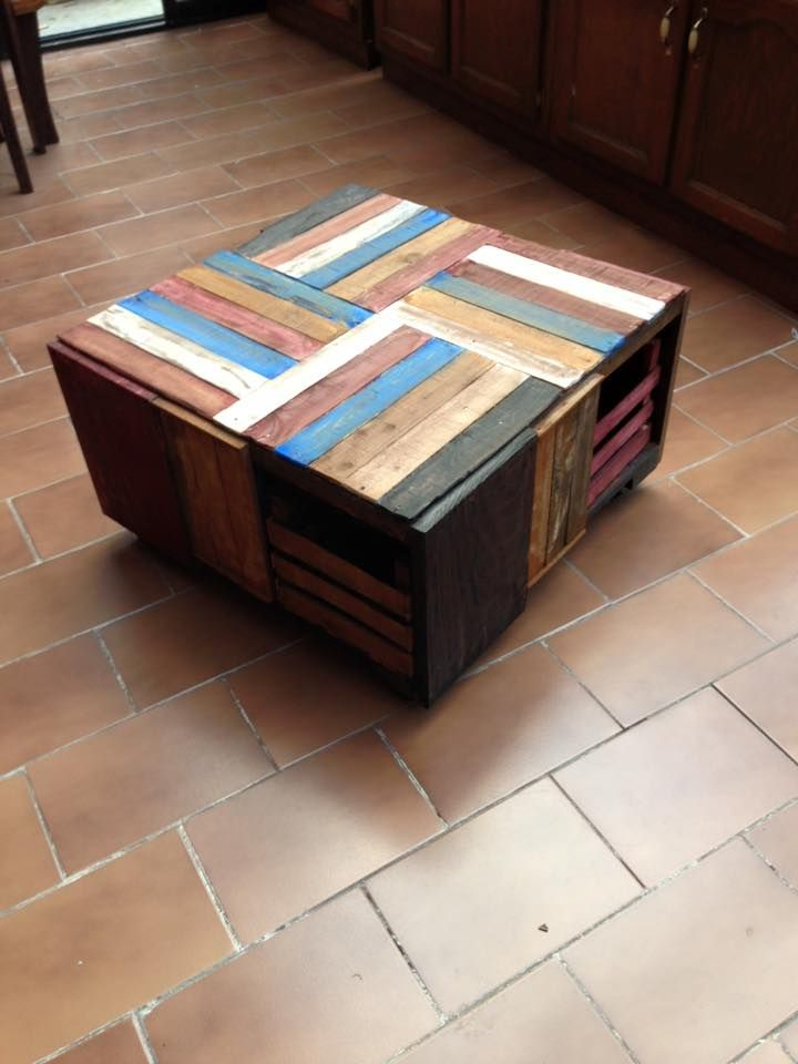 Pallet Wood and Crate Coffee Table Pallet wood Pallets and Crates