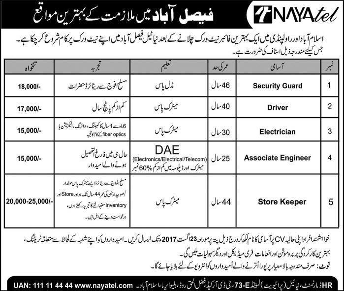 Nayatel Pvt Ltd Faisalabad Jobs  Positions  Vacancies