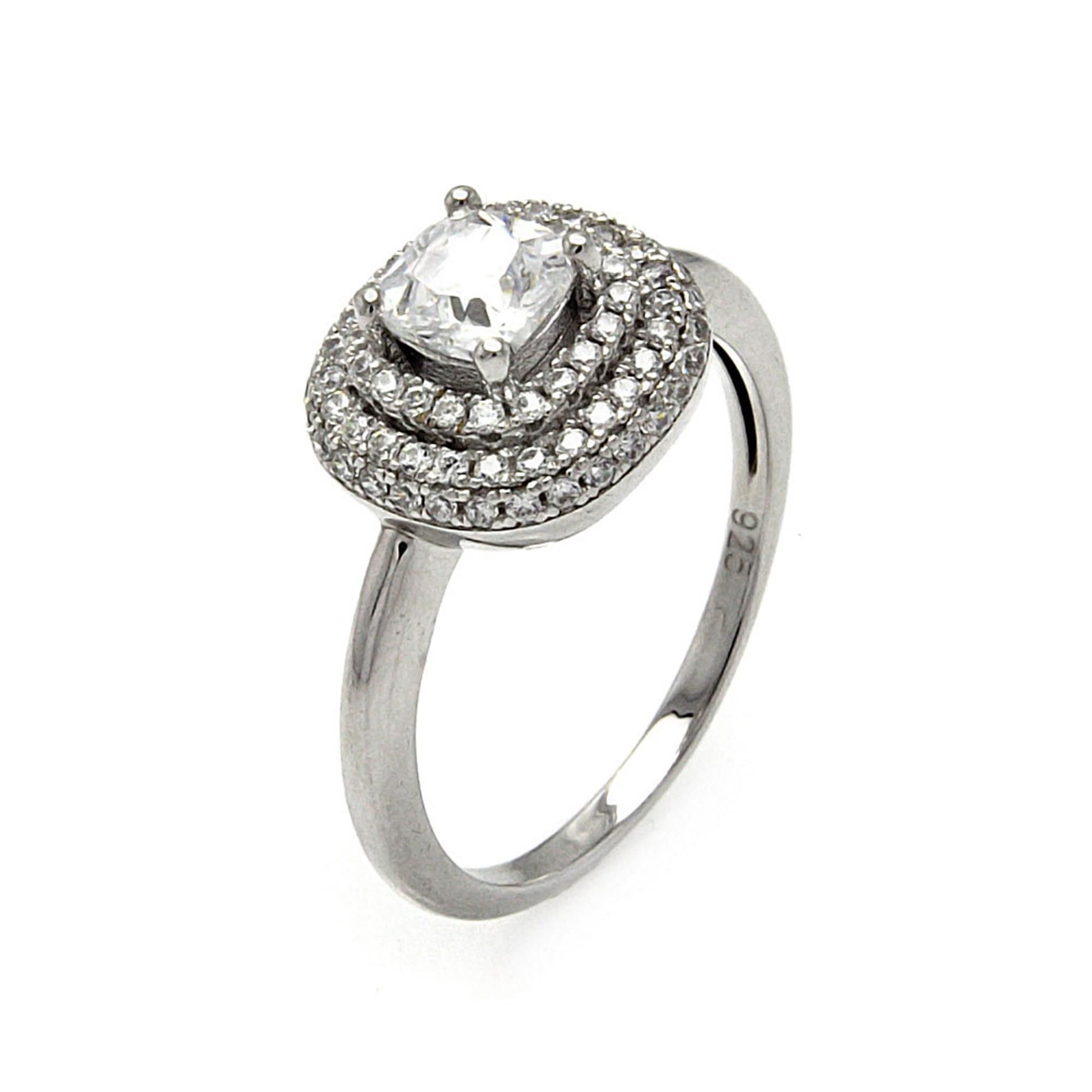 Stainless Steel Prong-Set Round Sirena Bypass Fancy Ring with Clear CZ