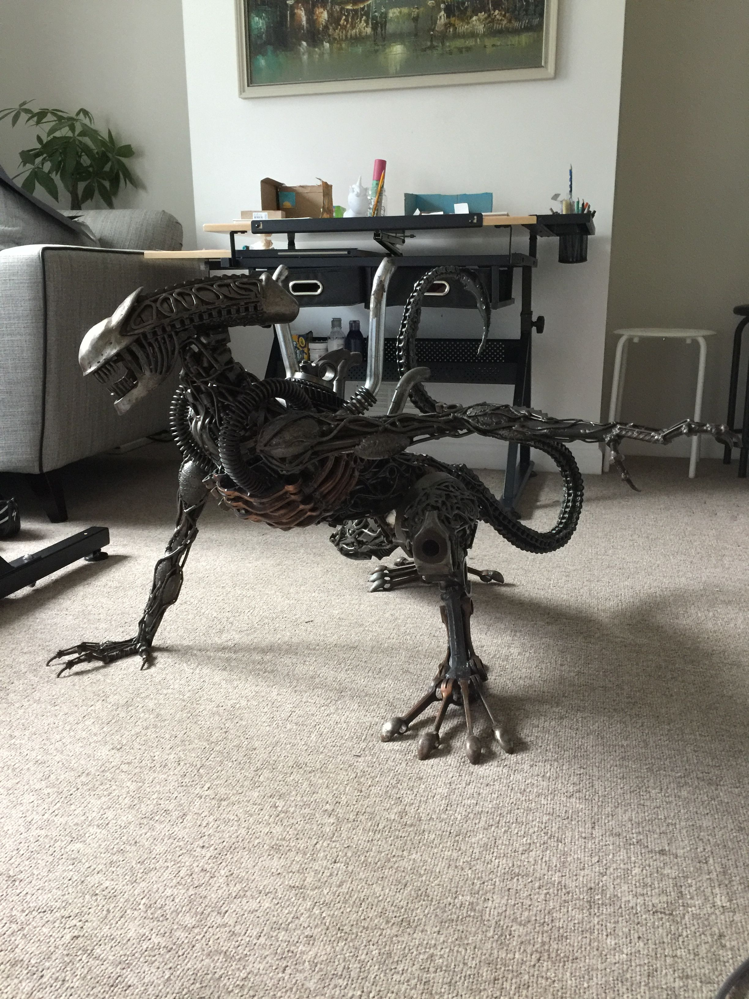 Space Engine Room: Alien Dog Xenomorph Made From Engine Parts. Ever Seen