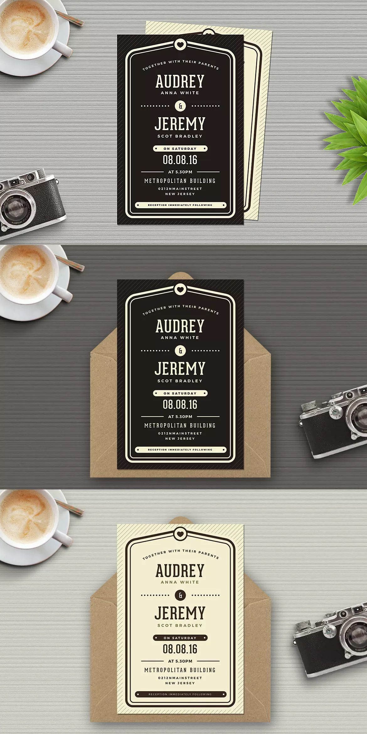 Simple Wedding Invitation Template AI, PSD | Wedding Invitation Card ...