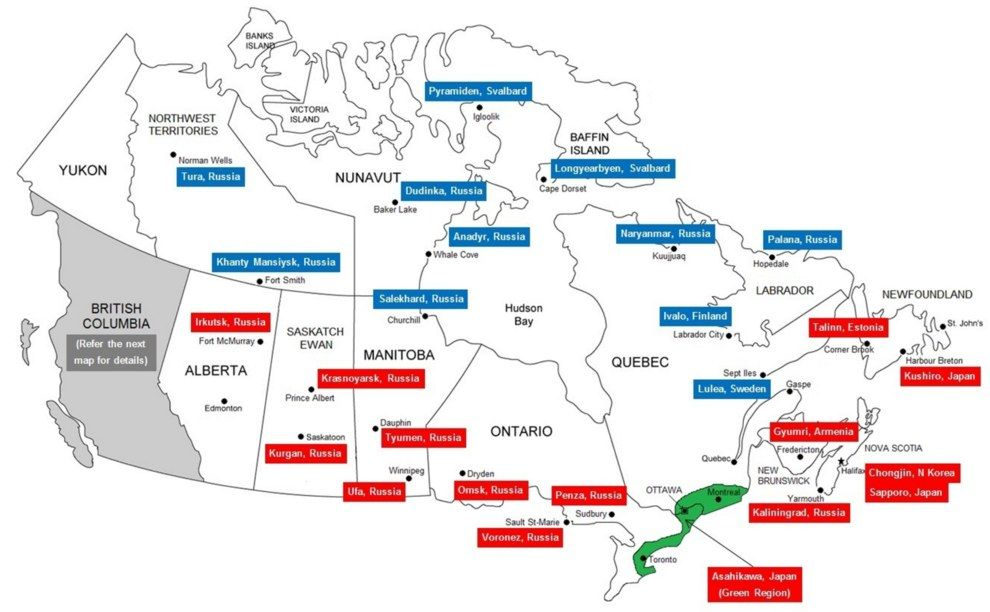 This map shows which Canadian cities share a similar