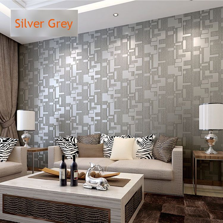And white home for Grey silver wallpaper living room