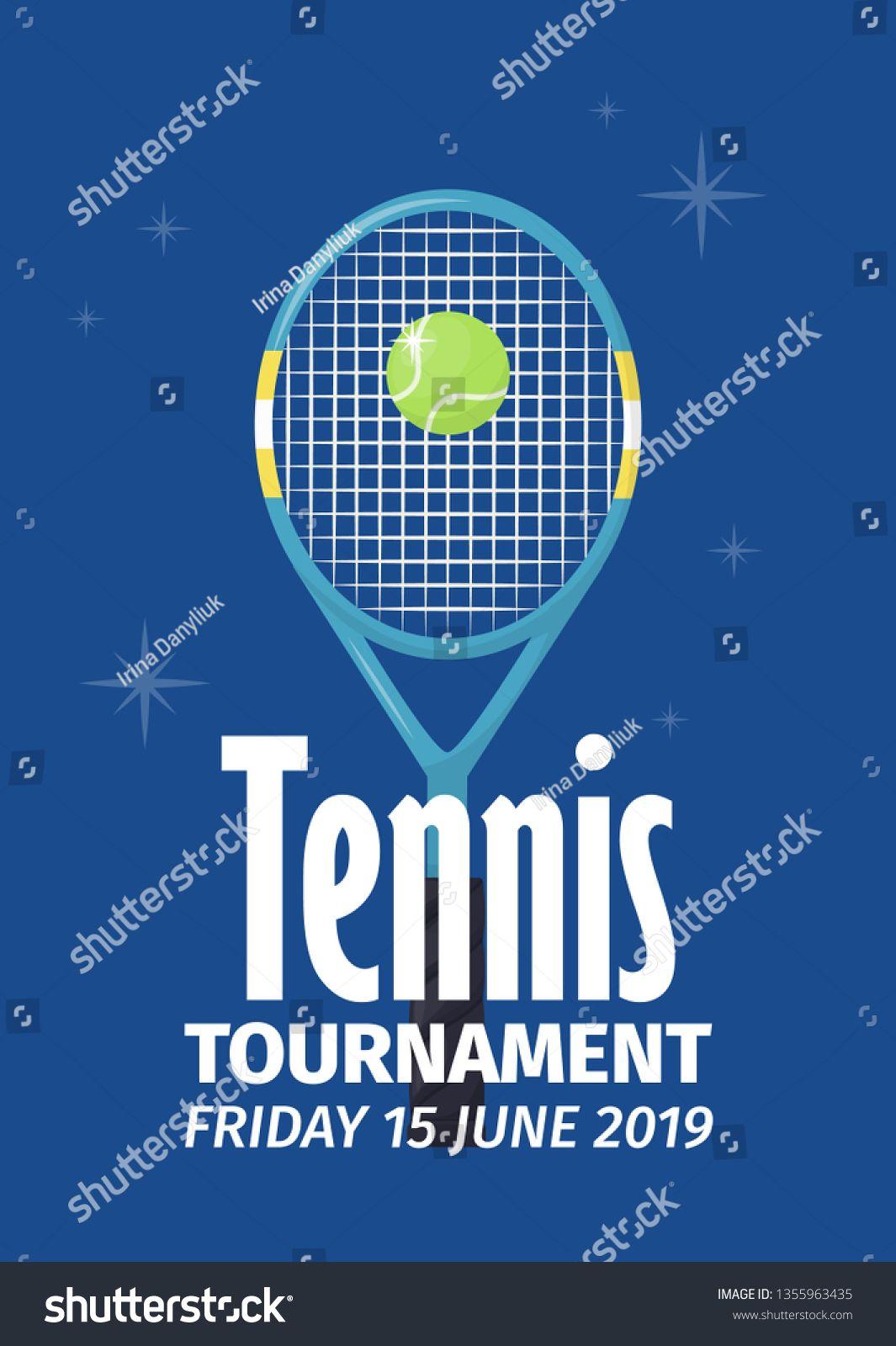 Tennis Tournament Poster With Tennis Ball Shield Flyer Template Vector Illustration Design Spo Vector Illustration Design Shop Small Quotes Shop Window Design