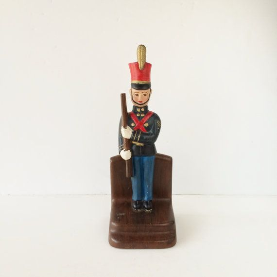 Vintage Ceramic Bookend Toy Soldier Bookend by AlegriaCollection