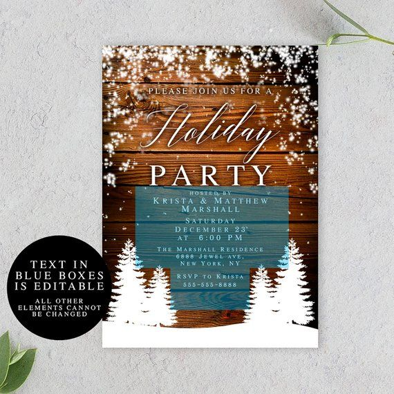 Holiday party invitation template Holiday invitations Rustic holiday