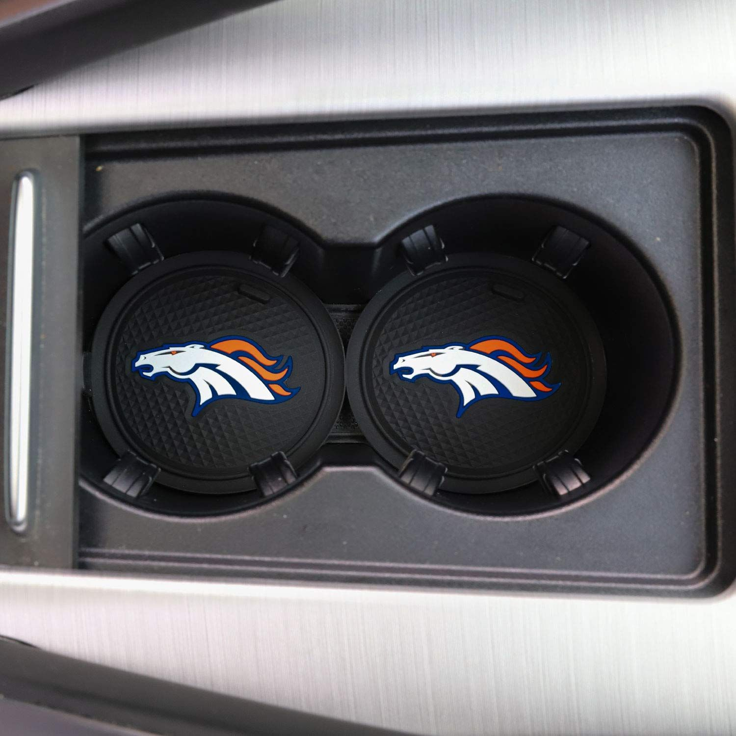 2 Pack 2 75 Inch For Denver Broncos Car Interior Accessories Anti Slip Cup Mat For All Vehicles Denver Bronco Car Interior Accessories Bronco Car Car Interior